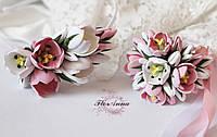 """""""Тюльпаны"""" (браслет+обруч) Свадебный комплект украшений для невесты, фото 1"""