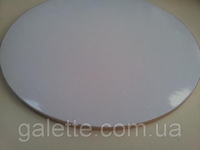 Подложка усиленная под торт круг белый лак D45cm (код 05067)