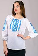 Белая рубашка с вышивкой голубой женская хлопок рукав 3/4 (Украина)