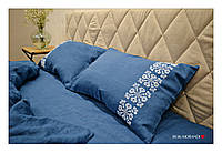 """Комплект из 100% льна """"Scandinavica Blue"""", вышивка ручной работы"""