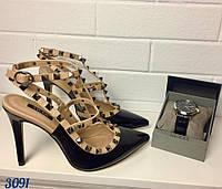 Женские туфли с шипами, черные, беж