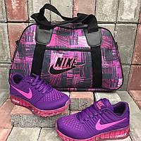 Серо-розовая женская спортивная сумка+фиолетовые кроссовки