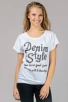 Женская трикотажная футболка с принтом Реглан Denim Style белый
