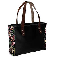 """Черная женская сумка """"Джорджия"""" с принтом цветы"""