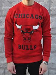 Спортивная кофта Chicago Bulls, Чикаго Буллс, свитшот, трикотаж, мужской,красного цвета,копия