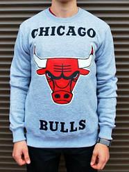 Спортивная кофта Chicago Bulls, Чикаго Буллс, свитшот, трикотаж, мужской,серого цвета,копия