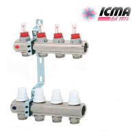 Коллектор для теплого пола ICMA с расходомерами G 3/4 (на 4 контура)