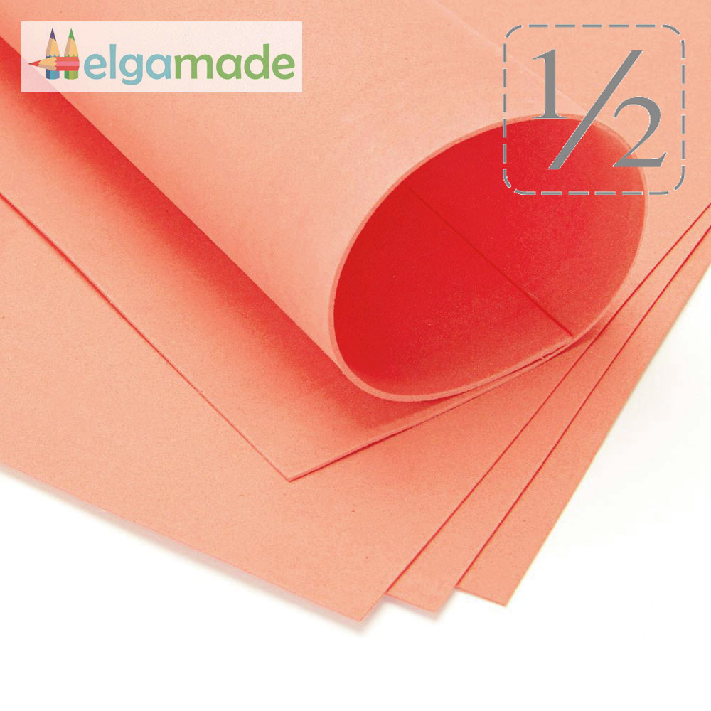 Фоамиран ОРАНЖЕВО-КОРАЛЛОВЫЙ (коричневый), 1/2 листа, 30x70 см, 0.8-1.2 мм, Иран