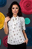 Красивая блузка с коротким рукавом с бантом на шее с принтом  +цвета