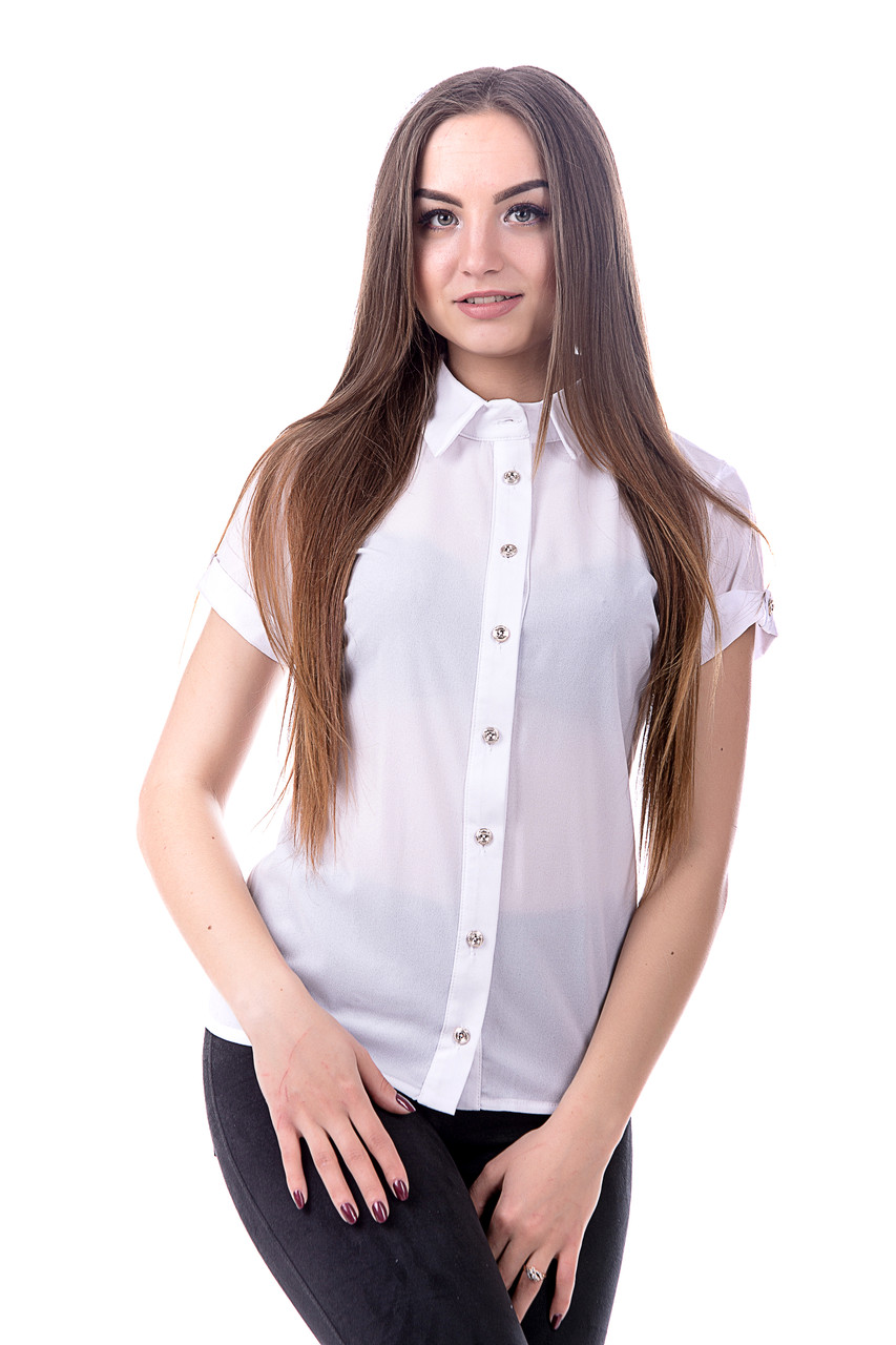 Блуза -рубашка женская с коротким рукавом из креп-шифона