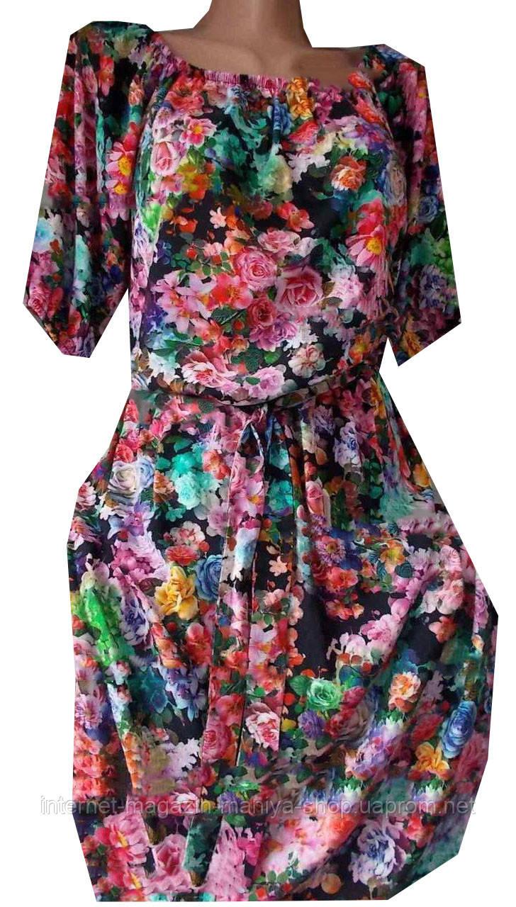 Платье женское цветы на резинке с поясом (лето)