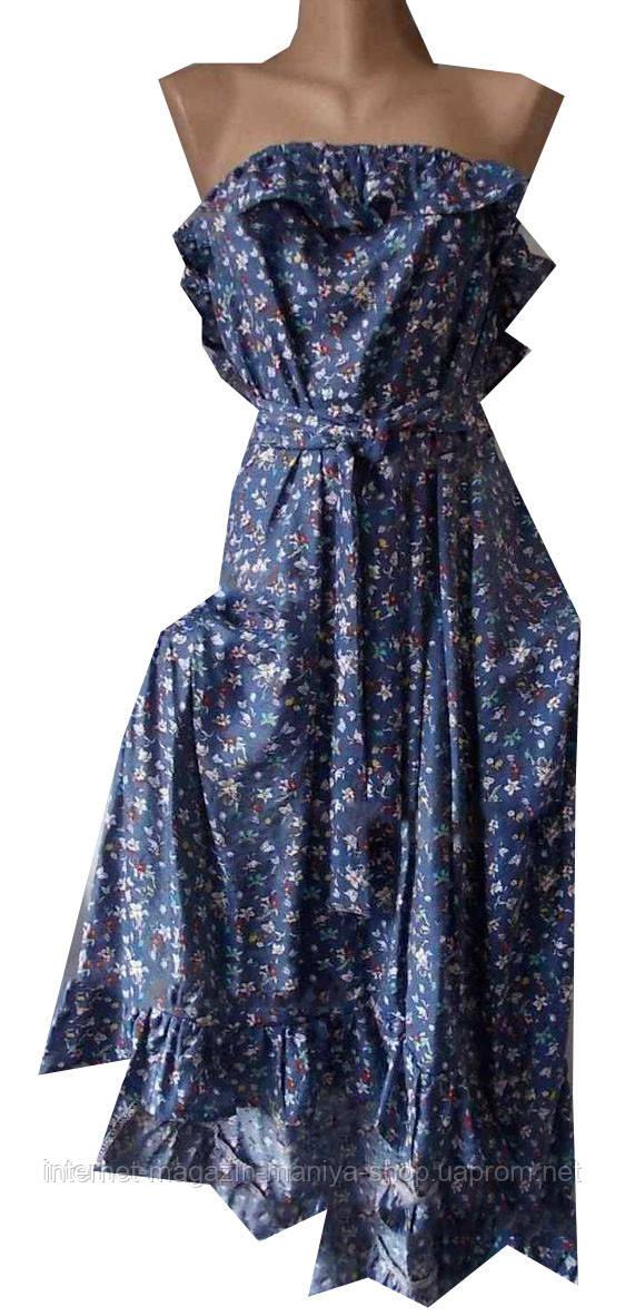 Платье женское цветы на резинке с поясом воланы открытые плечи миди (лето)