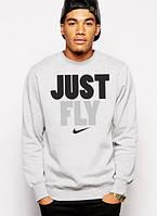 Спортивная кофта Nike, Найк, свитшот, трикотаж, мужской, серого цвета, копия
