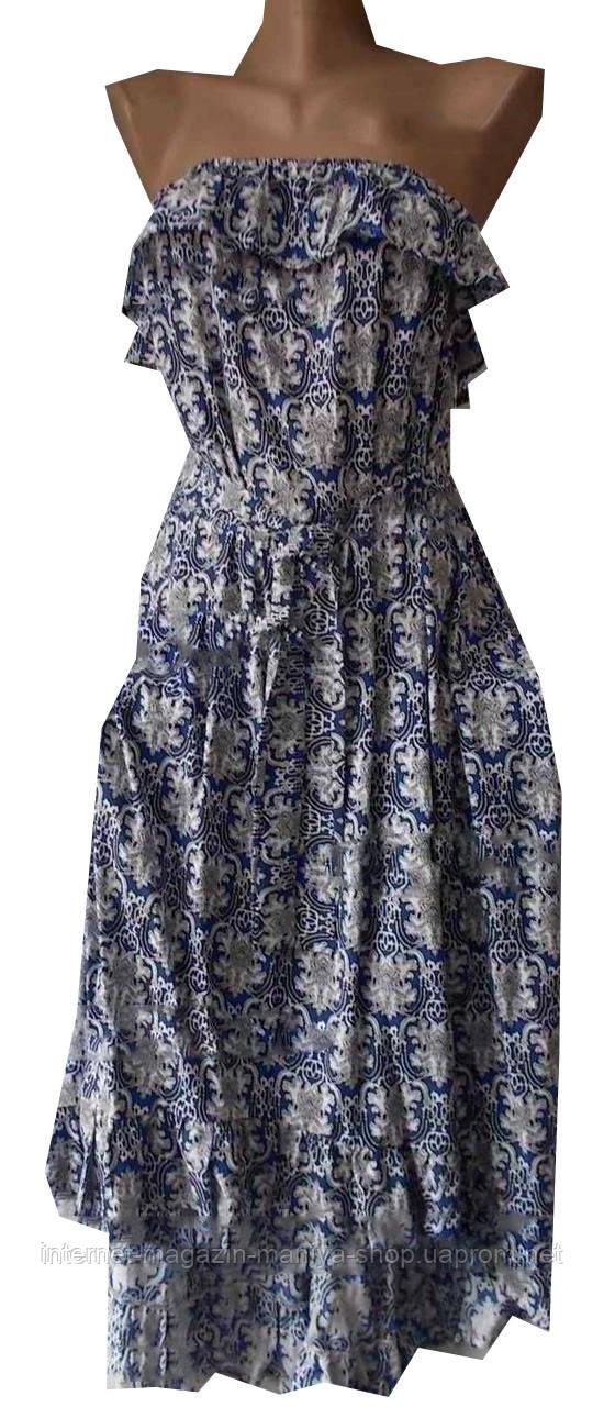 Платье женское узор на резинке с поясом воланы открытые плечи миди (лето)