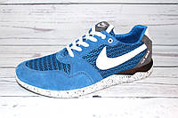 Летние мужские кроссовки замша+сетка синего цвета RNC