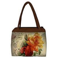 """Большая женская сумка """"Сатчел"""" с принтом букет цветов"""