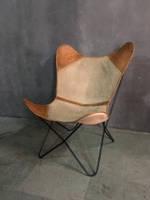Кресло LEATHER CANVAS BUTTERFLY CHAIR 958. Джут натуральный. Кресло в стиле Лофт.