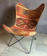 Кресло IRON JUTE BUTTERFLY CHAIR 952. Джут натуральный. Кресло в стиле Лофт.