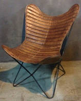 Кресло IRON LEATHER BUTTERFLY CHAIR 941. Кожа натуральная. Кресло в стиле Лофт.