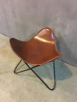 Стул IRON JUTE BUTTERFLY CHAIR 951S. Натуральная кожа. Кресло в стиле Лофт.
