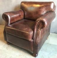 Кожаное кресло WOODEN LEATHER SOFA 1192M. Натуральная кожа и ценная порода дерева.