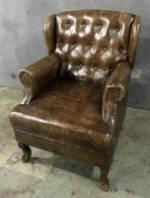 Кожаное кресло WOODEN LEATHER SOFA 1191. Натуральная кожа и ценная порода дерева.