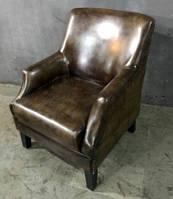 Кожаное кресло WOODEN LEATHER SOFA 1152M. Натуральная кожа и ценная порода дерева.