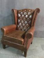 Кожаное кресло WOODEN LEATHER SOFA 1181. Натуральная кожа и ценная порода дерева.