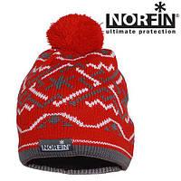 Шапка вязанная (подкладка флис) NORFIN NORWAY WOMEN RED/gray размер L