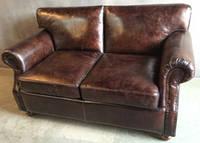 Кожаный диван WOODEN LEATHER SOFA Vintage 1192-2M. Натуральная кожа и ценная порода дерева.