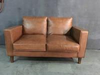 Кожаный диван WOODEN LEATHER SOFA Vintage 1211-2. Натуральная кожа и ценная порода дерева.