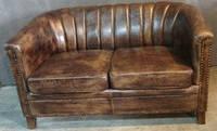 Кожаный диван WOODEN LEATHER SOFA Vintage 1177. Натуральная кожа и ценная порода дерева.