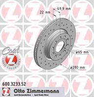 Диск тормозной передний ZIMMERMANN 600.3233.52