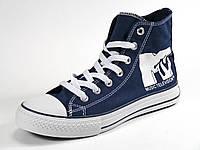 Кеды синие высокие текстиль унисекс шнурок, фото 1