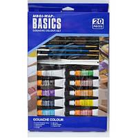 Набор Basics WBDG1220: Краски гуашь 12цв*12мл +Кисти +Палитра +Мастихин +Карандаш +Точилка +Ластик