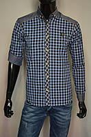 \мужские рубашки клетка с джинсовыми вставками 3 цвета