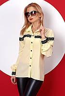 Женская рубашка лимонного цвета с длинным рукавом. Модель 381.