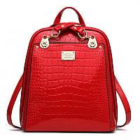 Сумка рюкзак  лаковая под рептилию (красная)