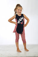 Детский летний костюм, туника и бриджи для девочки.