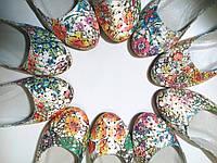 Балетки женские кожаные цвет цветок