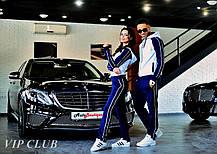 Женский стильный двухцветный спортивный костюм, кофта на молнии с капюшоном, штаны прямые с карманами., фото 2