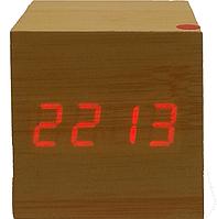Часы  с будильником светящиеся от батареек под дерево 1293