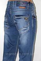Модные джинсы мужские классические LEFORS Лефорс летние голубые с потёртостью