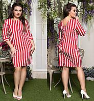 """Женское стильное платье в больших размерах 067-1 """"Полоска Пуговицы Спина"""" в расцветках"""