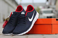 Мужские кроссовки nike free run 5 0 синие с красным и белым
