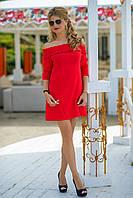 Льняное летнее Платье Вероник красное