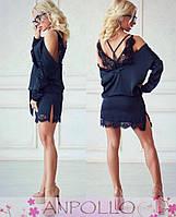 b28470106e7 Женское шелковое платье с французским кружевом в расцветках. Нп-1-0417