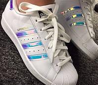 Женские кожаные кроссовки Adidas Superstar ( хамелеон )