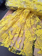 Ткань гипюр на сетке с бархатным напылением Желтый,АРТ ТЕКСТИЛЬ ткани