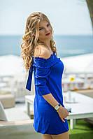 Льняное летнее Платье Вероник синее